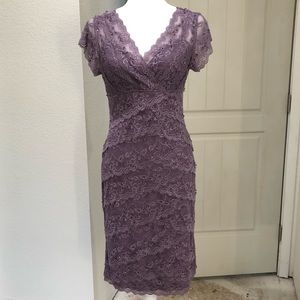 Marina Purple Tiered Beaded Dress